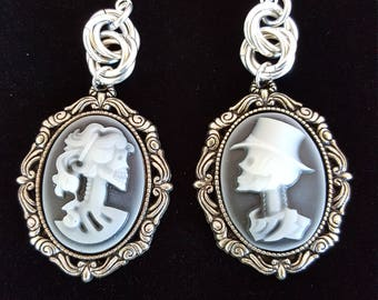 Gothic Skeleton Couple Cameo Earrings