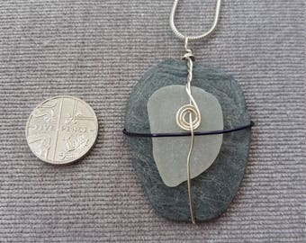 White seaglass and slate pendant