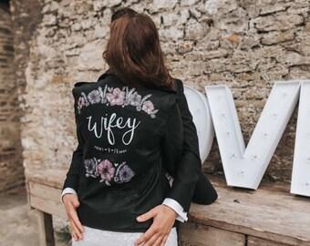 Hand painted custom faux leather wedding jacket wifey wedding bride