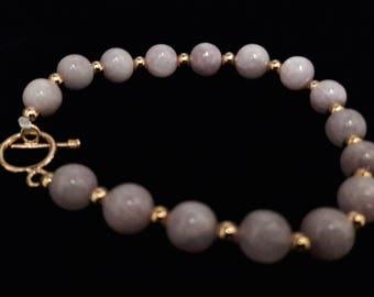 Kunzite and rose gold plated bead  bracelet