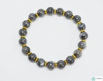 Larvikite beaded bracelet