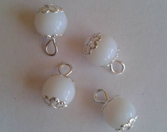 5 pendants 8mm frosted white glass pearls
