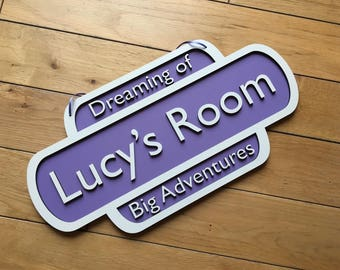 Childrens bedroom wall hanging. You can choose your own wording and colour.
