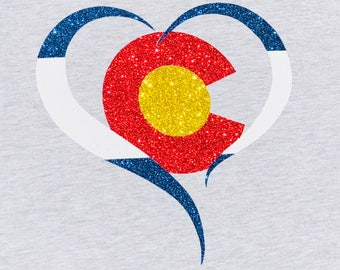 Sparkly Glitter Colorado Heart - Women's Fitted T-Shirt