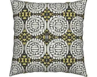 African polka BLACK/GOLD throw pillow covers