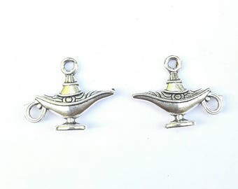 2 lamp genie (Aladdin) antique silver metal charms