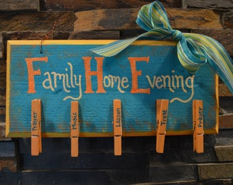 Wooden Family Home Evening Board
