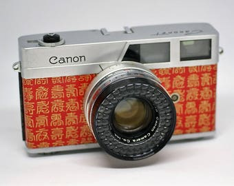 Canon Canonet 60's VIntage RangeFinder 35mm Film Camera 45mm f1.9 Lens Refubished and Japanese style repaint #02 'RED Kanji'
