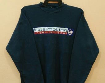LOCAL MOTION pullover spellout blue colour medium size