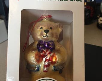 Spode Christmas Tree Ornament Teddy Bear Champagne Free Shipping