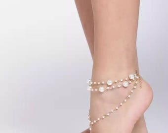 Gold-Toned Pearl Beaded Anklet with Toe Ring | Beach Anklet | Barefoot Anklet
