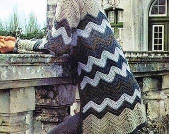 Ladies Chevron Coat, Crochet Pattern. Instant Download.