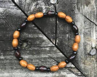 Wooden Beaded Bracelet-Coffee/Chocolate | Simple Wood Bead Stretch Bracelet | Wood and Black Seed Bead Bracelet | Mens Beaded Bracelet