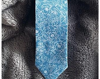 Blue Floral Skinny Tie