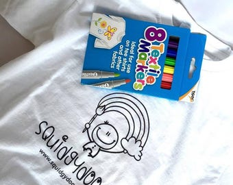 Design your own tee | T-shirt and Fabric Markers, Design your own shirt, Personalised T-shirt, Colour-in T-shirt
