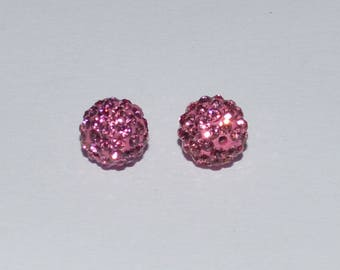 2 Pearl rhinestone glass crystal 8 mm polymer clay Grade A old rose - Ref: PS 643
