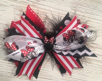 Red and black Minnie Mouse hair bow, Minnie hair bow, Minnie hairbow, Minnie hair clip, Disney hair bow, Disney hairbow, Disney hair clip