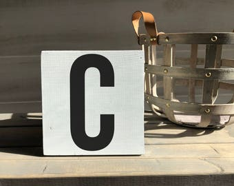 farmhouse-farmhouse sign-initial sign-C sign-initial decor-wood decor-wood sign-self sitting sign-shelf sitter
