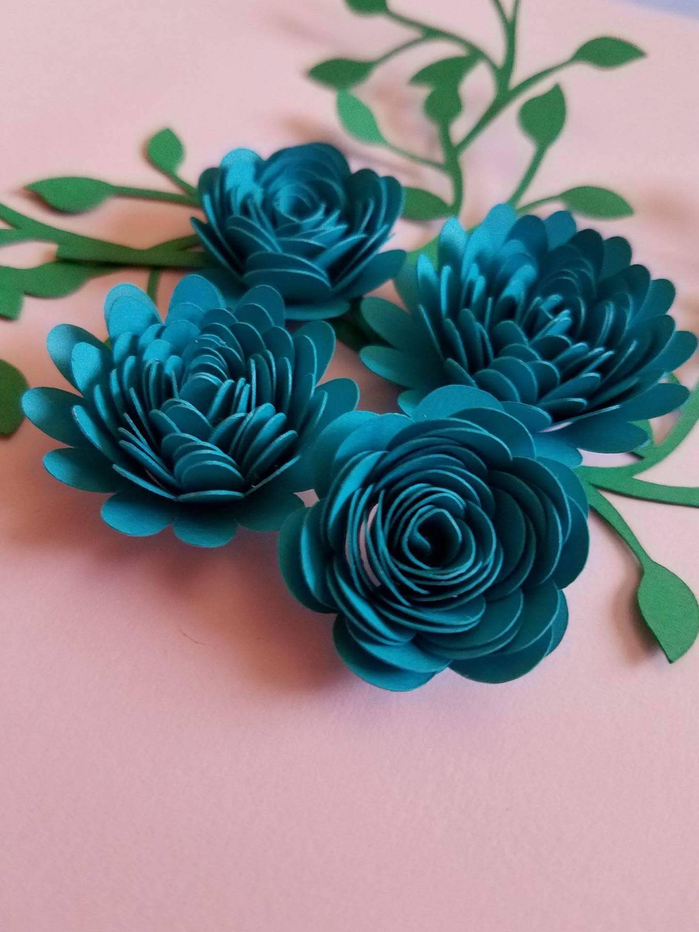 Set Of 12 Rolled Paper Flowers Shadow Box Flowers Table Decor