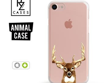 Deer Head Phone Case, iPhone 7 Case, Animal Phone Case, Antlers Hunting Case, Gift for Her, iPhone 7 Plus, iPhone 6S Case, iphone 6 plus