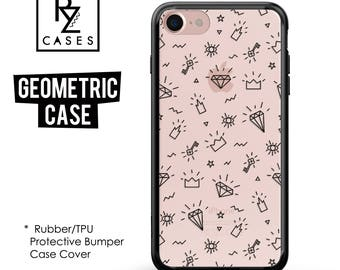 Diamonds Phone Case, iPhone 7 Case, Geometric Case, All seeing eyes, Crown Case, iPhone 6 Case, iPhone 7 Plus, Rubber, Bumper Case