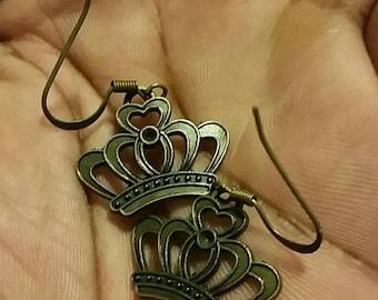 Bronze Queens Crown Earrings
