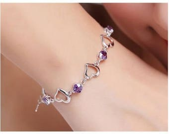 Bracelet with silver metal heart and Amethyst Crystal set rhodium plated high quality