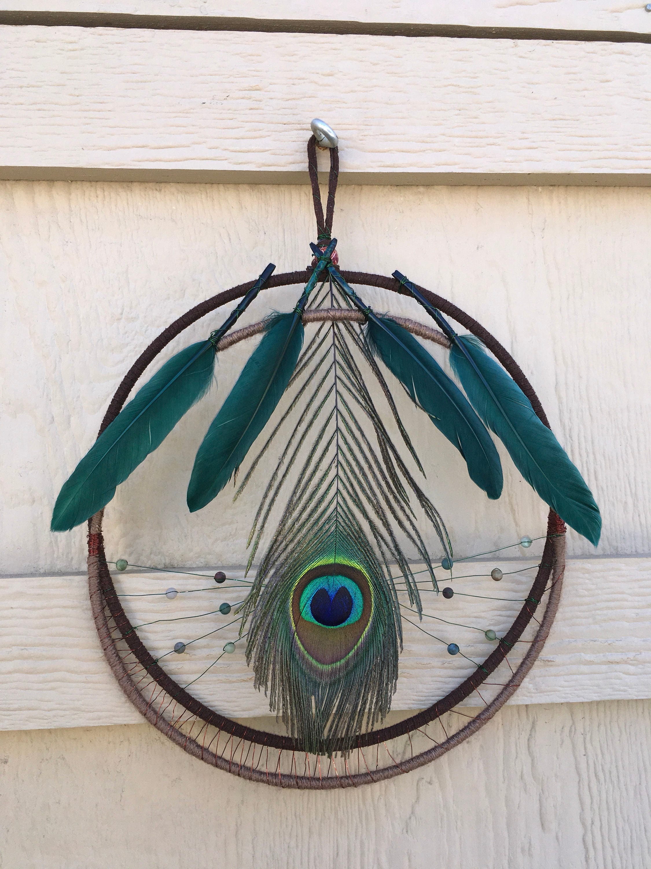 Peacock feather wall hanging wall decor - Peacock feather decorations home decor ...