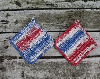 Crochet Red, White, and Blue Pot Holders
