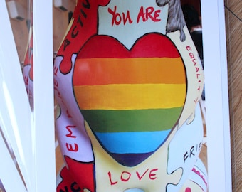 Pride Heart greetings cards // Be who you are // LGBT // Support Life // Wolves in Wolves