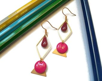 Earrings gold pink and raspberry