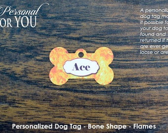 Personalized Dog Tag - Bone Shape - Flames
