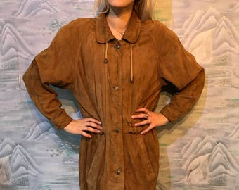 Vintage Suede Leather Parka Brown Classic Leather Coat Medium Size Long Leather Jacket Leather Trench Coat