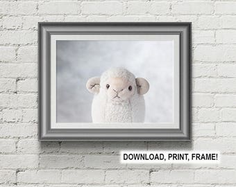 Lamb print,Baby room decor,Sheep print,Peekaboo Sheep,Baby Animal,Lamb poster,Nursery Room,Print,Printable,Wall Art,Baby room art,Lamb photo