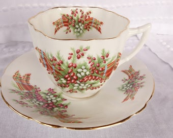 Windsor Green and Red Scottish Tartan - Heather Cup and Saucer