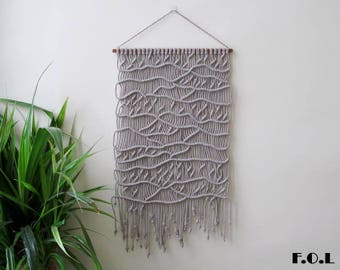 Macrame wall hanging, wall hanging, macrame decor, wall decor.