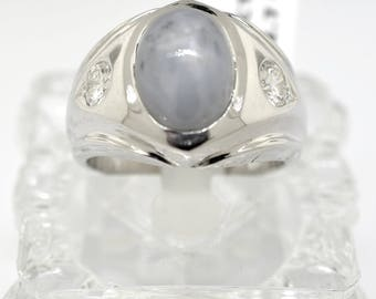 14k White Gold, Diamonds, And Natural Star Sapphire Men's Ring. Size 8