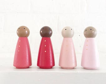 Pink Ombré Peg People Set