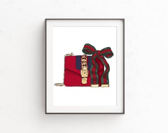 gucci handbag, fashiondrawing,fashionillustration, fashionprint, instant downloadart, fashiondigitalart, fashionart,chichomedecor