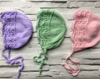 NEW! Lace edged traditional baby bonnet
