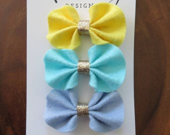 Spring Ruffle Felt Bow Hair Clip Set