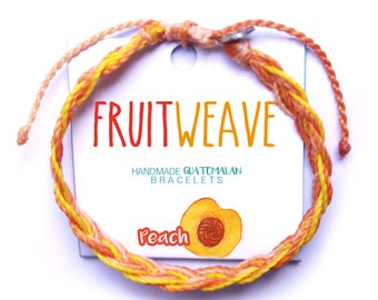 PEACH FEATHER BRACELET, Guatemalan Bracelets, Handmade bracelets, colorful bracelets, fruit based, fruit weave, friendship bracelets.