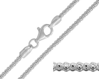 925 Sterling Silver Popcorn 2mm Chain Necklace 16 18 20 22 24 26 28 30 inches
