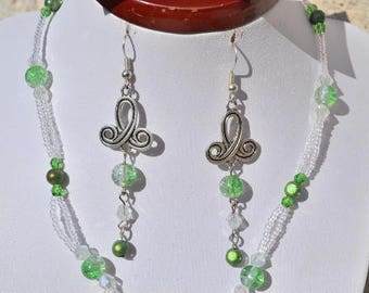 clear and green earrings