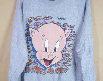 Vintage 1990 Porky Pig That All Folks Looney Tunes Warner Bros  Sweatshirt
