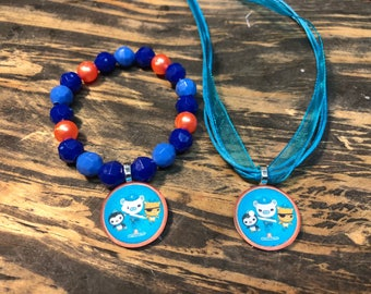 Octonauts party favors.Octonauts bead bracelet.Octonauts pendant necklace.Octonauts gift set /jewelry.Octonauts Birthday party