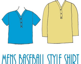 Men's Baseball Style Shirt PDF Sewing Pattern