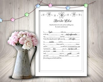 Bride-Libs Vows, Bridal Shower, Printable Bridal Shower Game, Instant Download