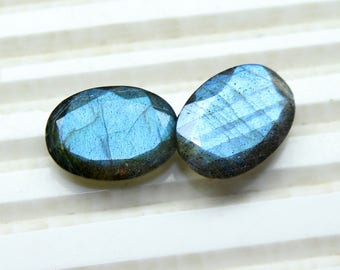 Natural Labradorite Faceted Oval cut size- 10X14 MM Approx, 2 PCs Lot Flashy Fire Labradorite Oval 10X14 loose gemstones HL12