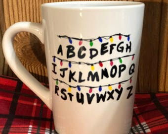 Stranger things alphabet wall mug, stranger things, alphabet wall, coffee mug, netflix show, Stranger Things fan, eleven, 011,